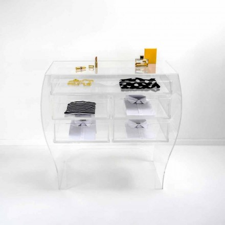 Transparent plexiglass chest of drawers Billy, modern design