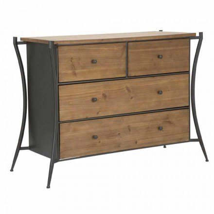Design Dresser with 5 Drawers in Fir Wood and Iron - Doran