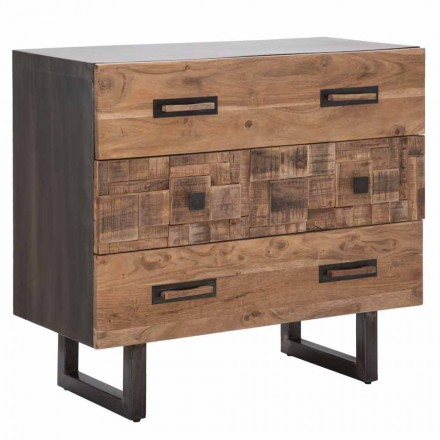 Dresser in Acacia Wood and Iron with 3 Modern Design Drawers - Emerald