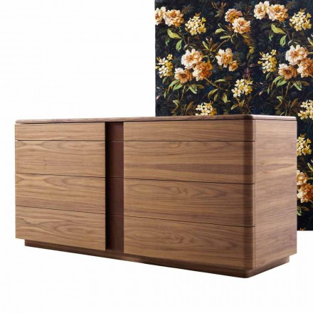 Design solid wood and leather dresser Grilli York made in Italy