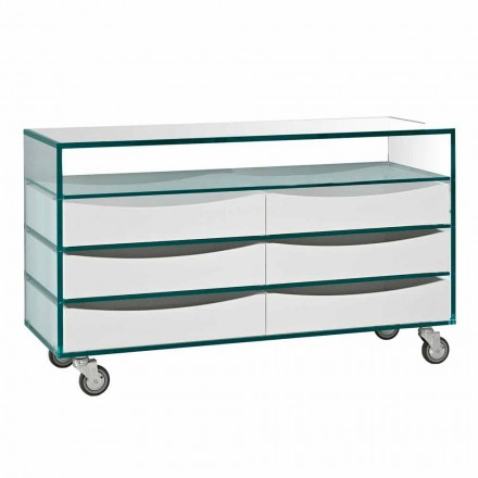 Dresser in Extraclear Glass with Six Drawers in White Wood Made in Italy - Ganzo