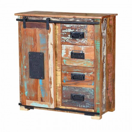 Vintage chest of drawers with 4 drawers and a sliding door in recycled wood - Verbena