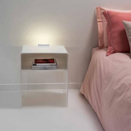 White illuminated side table Adelia, LED light, made in Italy