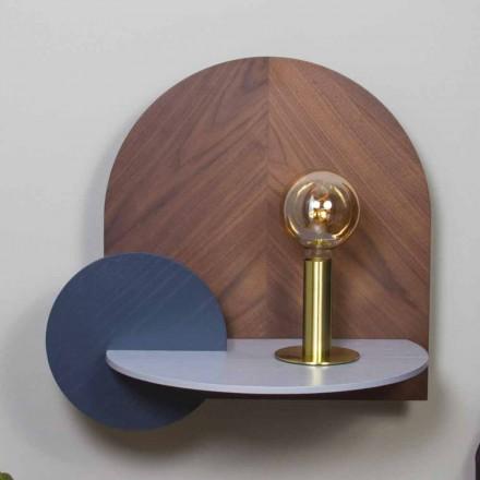 Modern Design Bedside Table Consisting of 3 Modular Plywood Panels - Marea