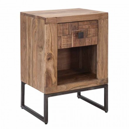 Design Bedside Table with Drawer in Acacia Wood and Iron - Dionne
