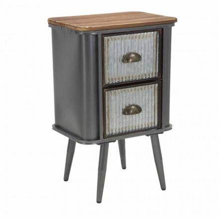 Modern Design Industrial Style Bedside Table in Iron and Wood - Jasik