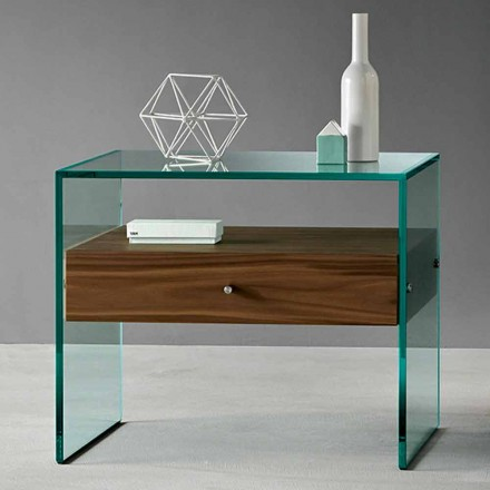 Modern Design Side Table in Extraclear Glass Made in Italy - Segreto