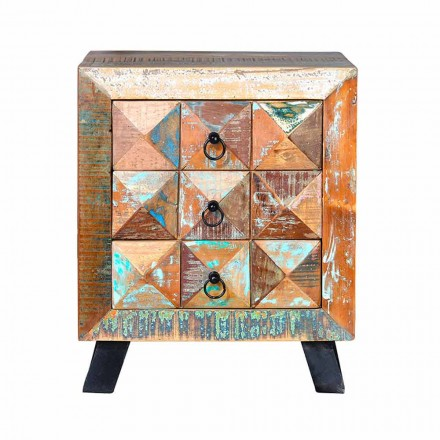 Recycled Colored Wood Bedside Table with 3 Drawers in Vintage Style - Jeremiah
