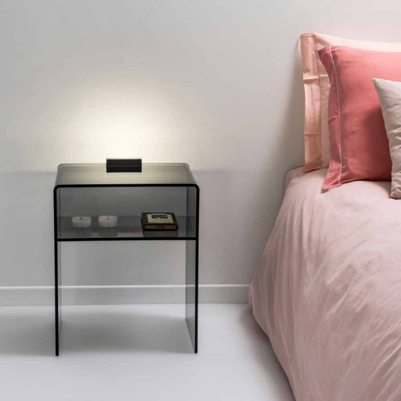 Smoked bedside table with light Adelia LED light, made in Italy