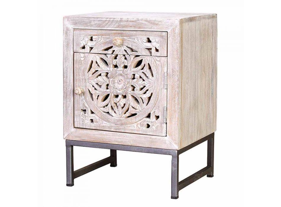 Bleached Mango Wood Bedside Table with Ethnic Style Carved Decorations - Kalo