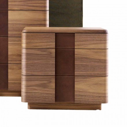 Modern design solid wood bedside table Grilli York made in Italy