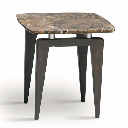 Marble Bedside Table with Wooden Structure, High Quality Made in Italy - Raise