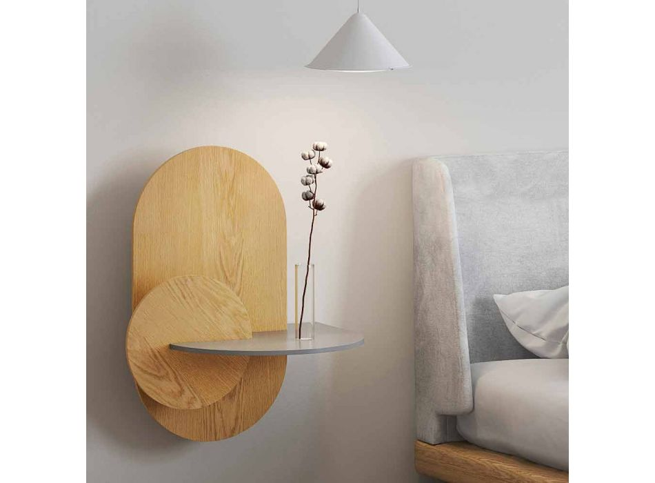 Bedside Table in Plywood Composed of 3 Modular Panels Modern Design - Zita