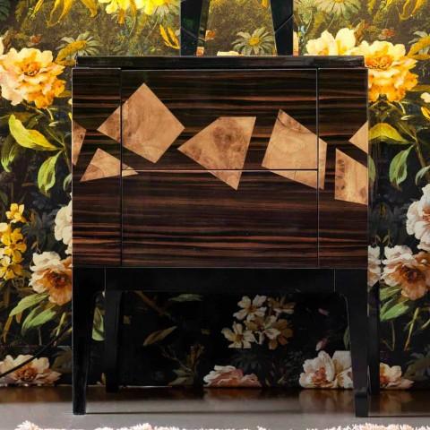 Bedside table in walnut and ebony wood Grilli Zarafa made in Italy