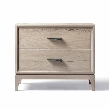 Modern bedside table 2 drawers in antique oak, W 60 x D 42 cm, Margo