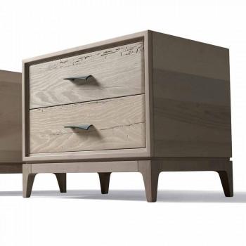Modern bedside table 2 drawers in antique oak, W 60 x D 42 cm, Margo