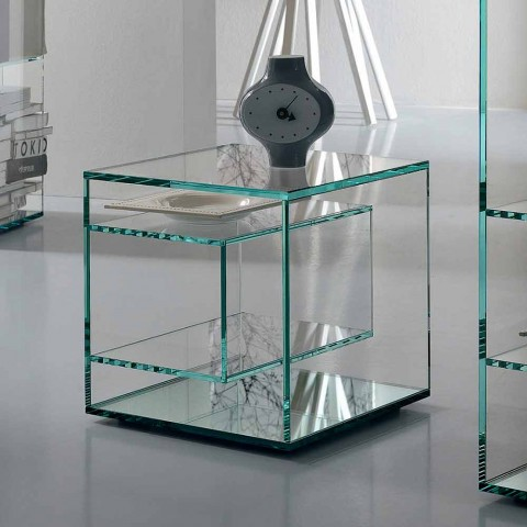 Bedside Table in Extra-clear Glass 2 Dimensions Made in Italy - Linzy