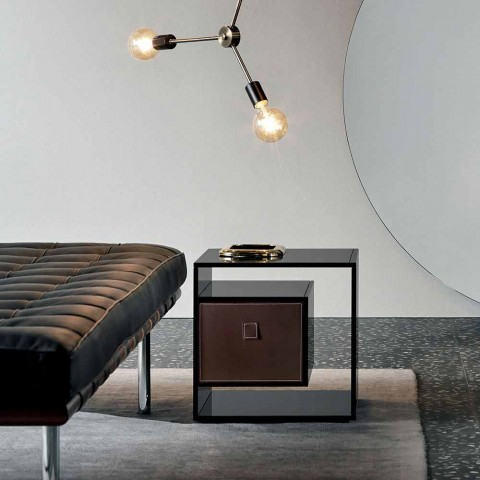 Bedside Table in Smoked Glass with Leather Drawer 2 Dimensions - Linzy