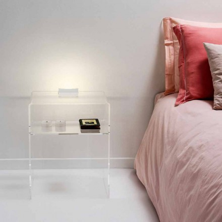Modern transparent side table with LED lighting Adelia, made in Italy