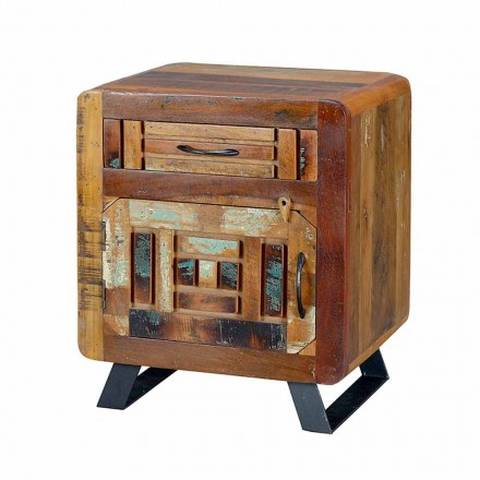 Vintage Bedside Table in Colored Wood Design with 1 Door and 1 Drawer - Vladimiro