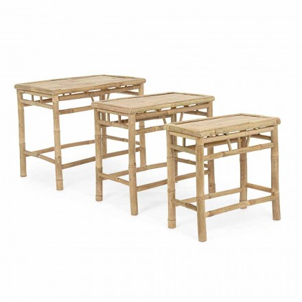 Set of 3 Rectangular Design Garden Tables in Bamboo Wood - Blumele