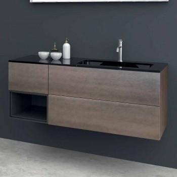 Composition 2 Suspended Bathroom Furniture in Platinum Lacquered Mdf, Luxury - Renga