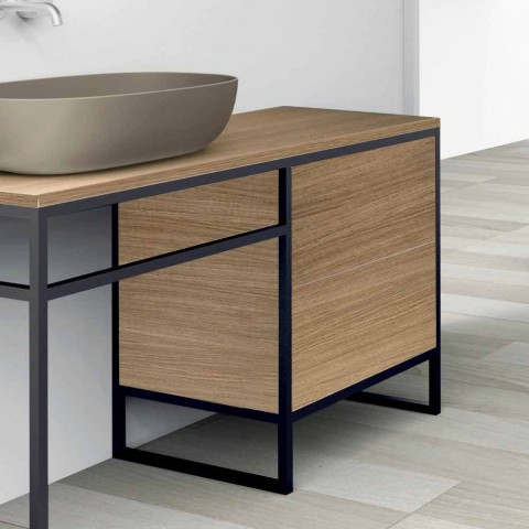 Composition 3 Bathroom Furniture in Metal and Wood Luxury Oak - Cizco