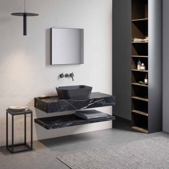 Composition 3 Bathroom Furniture in Gres and Washbasin in Vetrochina 3 Colors - Ramentina