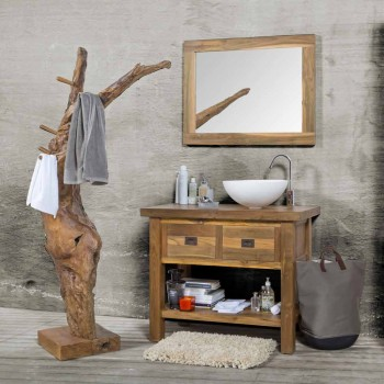 Composition 3 Bathroom Furniture in Teak Wood with Resin Washbasin - Essence