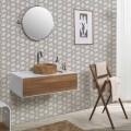 Composition 3 Bathroom Furniture in Teak Wood and Hi Macs® - Talc