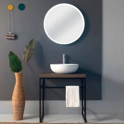 Composition 3 Bathroom Furniture in Metal, Wood and Ceramic Made in Italy - Cizco
