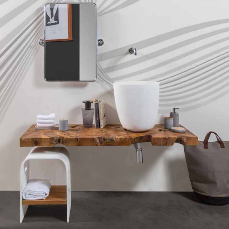 Composition 3 Suspended Bathroom Furniture with White Resin Washbasin - Dazzle