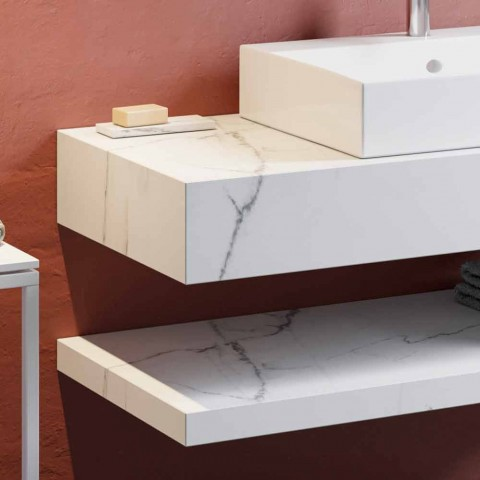 Composition 3 Suspended Bathroom Furniture in Porcelain Stoneware 4 Finishes - Rambina