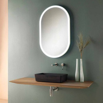 Composition 3 Suspended Bathroom Furniture in Wood, Resin and Oval Mirror - Tonal