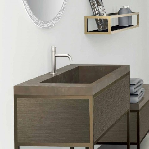 Composition 5 Free Standing Bathroom Furniture in Metal, Ecolegno and Luxury Stoneware - Cizco