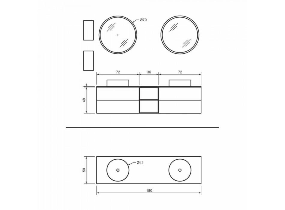 Composition 5 Suspended Bathroom Furniture with Double Washbasin Made in Italy - Renga