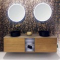 Composition 5 Suspended Bathroom Furniture in Wood and Crystal Made in Italy - Renga