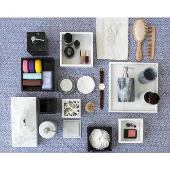 Composition Bathroom Accessories in White Carrara Marble Made in Italy - Tuono