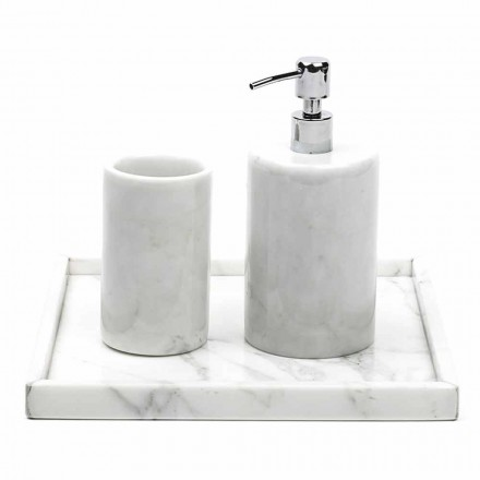 Composition Bathroom Accessories in White Carrara Marble Made in Italy - Tuono