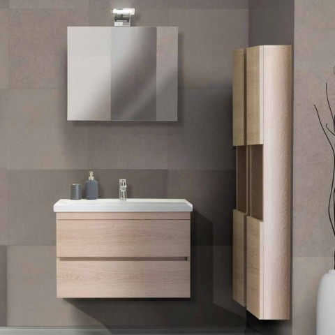 Suspended Bathroom Furniture Composition in Oak Melamine - Becky