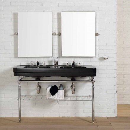 Vintage bathroom composition with double black console on Double structure