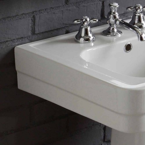 Ania white ceramic column washbasin composition