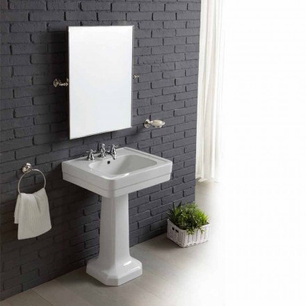 Bathroom composition sink on column in white ceramic vintage Ania
