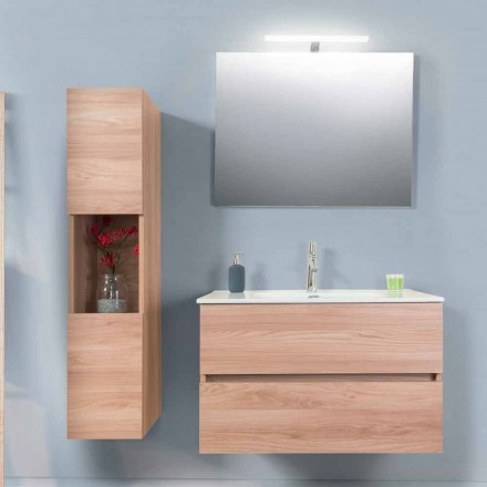 Bathroom Cabinet 90 cm, Wah Basin, Mirror and Column – Becky