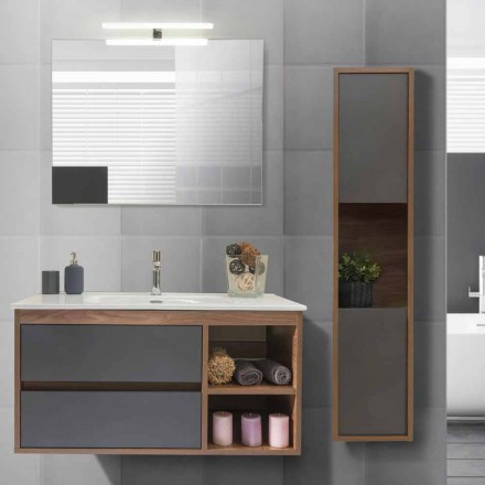 Bathroom Cabinet 100 cm, Wash Basin, Mirror and  Column – Becky