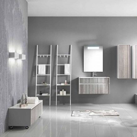 Suspended Bathroom Composition Modern Design Furniture White and Wood - Rossana