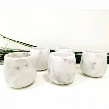 Composition of 2 Glasses in White Carrara Marble Made in Italy - Dolla