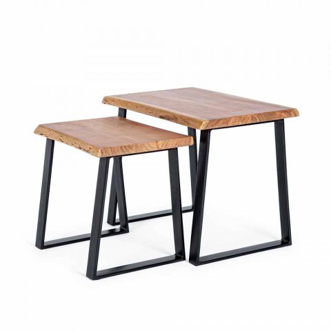 Composition of 2 Coffee Tables in Wood and Steel Homemotion - Artur