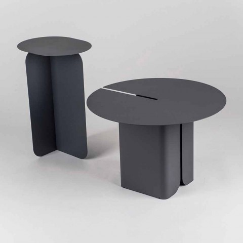 Composition of 2 Modern Coffee Tables in Steel Made in Italy - Poplar
