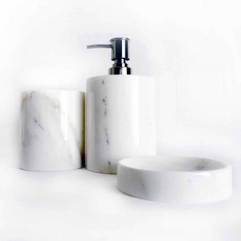 Composition of 3 Bathroom Accessories in Polished Marble Made in Italy - Trevio